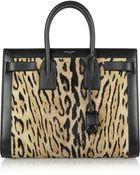 Saint Laurent Sac De Jour Small Leopard-Print Calf Hair And Leather Tote - Lyst
