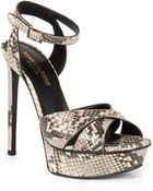 Saint Laurent Python-Stamped Bianca Platform Sandals - Lyst
