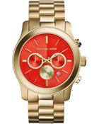 Michael Kors Womens Chronograph Runway Goldtone Stainless Steel Bracelet Watch 45mm - Lyst
