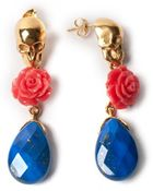 Leivan Kash Skull Earrings - Lapis - Lyst