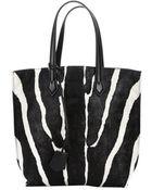 Fendi Black And White Zebra Print Nylon Tote Bag - Lyst