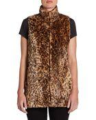 Alice + Olivia Ettie Leopard Faux Fur Vest - Lyst
