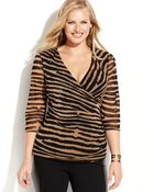 Inc International Concepts Plus Size Faux-Wrap Ruched Striped Top - Lyst