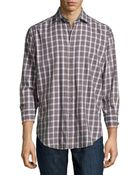 Thomas Dean Plaid Twill Sport Shirt - Lyst