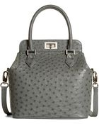 Brooks Brothers Ostrich Top Handle Satchel - Lyst