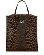ESCADA Leopard Print Leather Tote - Lyst