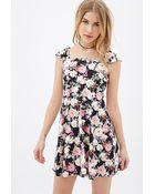 Forever 21 Floral Print Skater Dress - Lyst