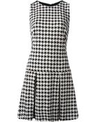 MICHAEL Michael Kors Pied Poule Pleated Dress - Lyst