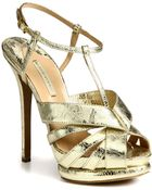 Nicholas Kirkwood Laceprint Metallic Leather Platform Sandals - Lyst