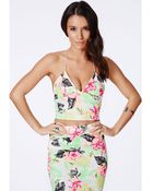 Missguided Neon Tropical Print Strappy Bralet - Lyst
