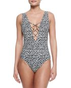 Tory Burch Tribal-Print Lace-Up One-Piece Swimsuit - Lyst