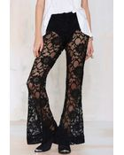 Nasty Gal Tragically Hip Lace Flare Pants - Lyst