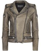 Balmain Washed Leather Biker Jacket - Lyst