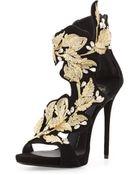 Giuseppe Zanotti Suede & Crystal Leaf Sandal - Lyst