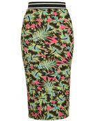 Topshop Tropical Print Tube Skirt - Lyst