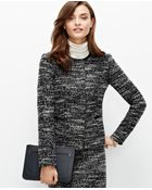 Ann Taylor Faux Leather Trim Tweed Jacket - Lyst