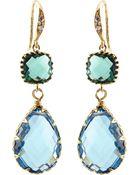 Indulgems Blue Quartz & Green Glass Station Teardrop Earrings - Lyst