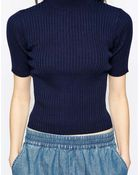 Monki High Neck Ribbed Top - Lyst