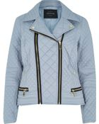 River Island Grey Padded Quilted Biker Jacket - Lyst