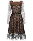 Oscar de la Renta Lacquered Chantilly Lace Dress - Lyst