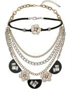 Topshop Flower Choker And Necklace Set - Lyst