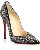 Christian Louboutin So Pretty Cutout Patent Leather, Suede & Glitter Pumps - Lyst