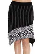 Iceberg Pinstripe Knit Skirt With Silk Frill And Paillettes - Lyst