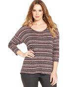Jessica Simpson Plus Size Three-Quarter-Sleeve Striped Top - Lyst