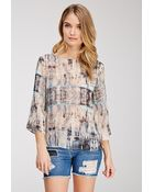 Love 21 Abstract Print Twist-Back Blouse - Lyst