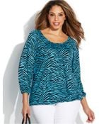 Michael Kors Michael Plus Size Animal-Print Peasant Top - Lyst