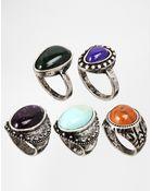 Asos Stone Ring Multi Pack - Lyst
