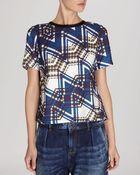 Karen Millen Top - Zigzag Check Print - Lyst