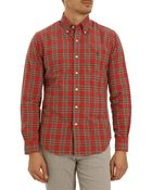 Polo Ralph Lauren Slim Fit Oxford Red And Green Checked Shirt - Lyst
