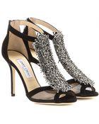 Jimmy Choo Feline Embellished Suede Sandals - Lyst
