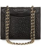 Tory Burch Fleming Quilted Patent Saffiano Leather Flap Bag - Lyst