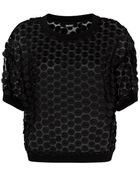 DKNY Embroidered Circle Crop Top - Lyst