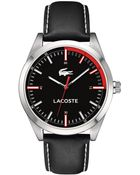 Lacoste Men'S Montreal Black Leather Strap Watch 44Mm 2010733 - Lyst