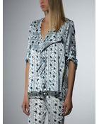 Patrizia Pepe Printed Silk Tunic Top - Lyst