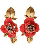 Oscar de la Renta Painted Flower Clip Earrings - Lyst