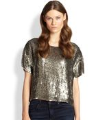 Alice + Olivia Sarita Sequined Silk Tee - Lyst
