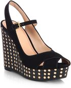 Tory Burch Ollie Suede Leather Polka Dot Wedge Sandals - Lyst