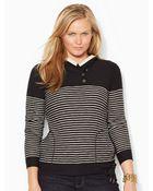 Lauren by Ralph Lauren Striped Cotton Hooded Pullover - Lyst