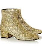 Saint Laurent Glitter-Finished Leather Ankle Boots - Lyst