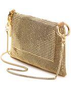 Whiting & Davis Pyramid Mesh Cross Body Bag - Gold - Lyst