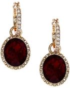 Anne Klein Glitz Gold-Tone Hoop And Red Stone Drop Earrings - Lyst