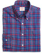 Brooks Brothers Blue Madras Sport Shirt - Lyst