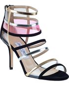Jimmy Choo Mixer Cage Sandal Multi Black Suede - Lyst