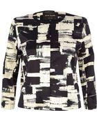 River Island Black Graphic Print Satin Cropped Jacket - Lyst