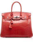 Heritage Auctions Special Collection Hermes 35Cm Shiny Bougainvillea Porosus Crocodile Birkin - Lyst