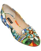 Dolce & Gabbana Maiolica Print Cotton Brocade Ballerinas - Lyst